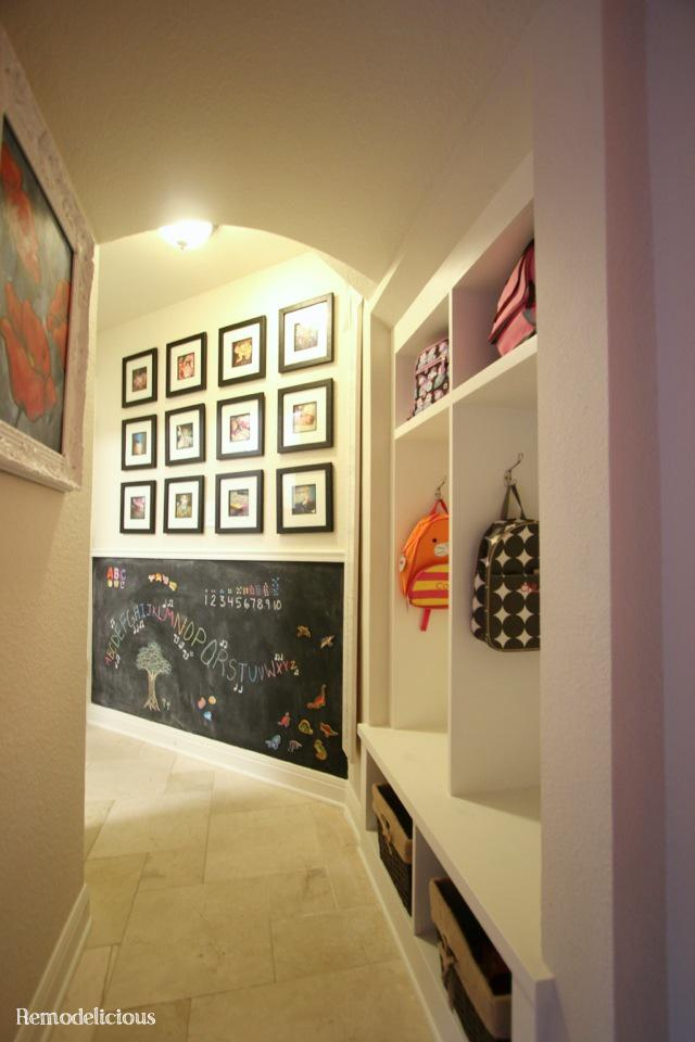 Wall with instagram family photo gallery amp mud locker cubby cabinet